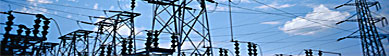 Transmission line towers and a substation